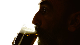 Beer Silhouette Man High Contrast stock footage