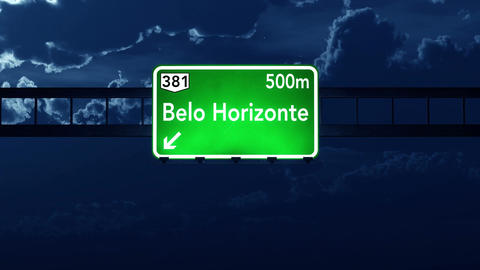4K Passing Belo Horizonte Brazil Highway Sign at Night with Matte 2 stylized Animation
