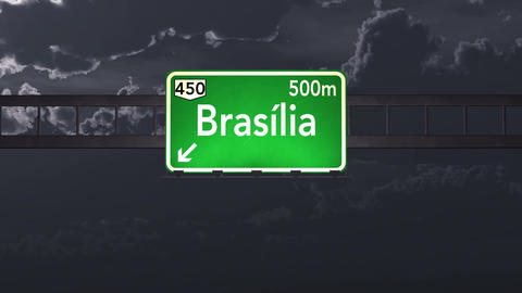 4K Passing Brasilia Brazil Highway Sign at Night with Matte 1 neutral Animation
