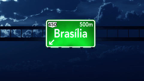 4K Passing Brasilia Brazil Highway Sign at Night with Matte 2 stylized Animation