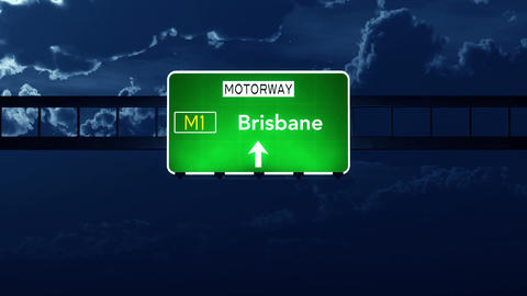 4K Passing Brisbane Australia Highway Sign at Night with Matte 2 stylized Animation