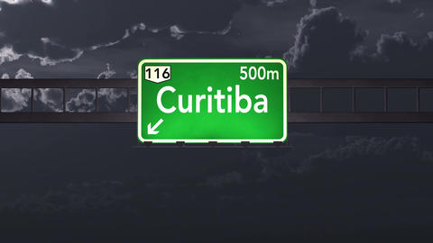 4K Passing Curitiba Brazil Highway Sign at Night with Matte 1 neutral Animation
