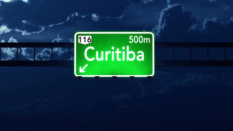 4K Passing Curitiba Brazil Highway Sign at Night with Matte 2 stylized Animation