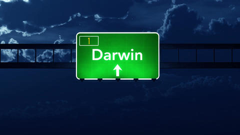 4K Passing Darwin Australia Highway Sign at Night with Matte 2 stylized Animation