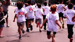 Children's Education In The Fight Against Obesity. Cross-Country Boys stock footage