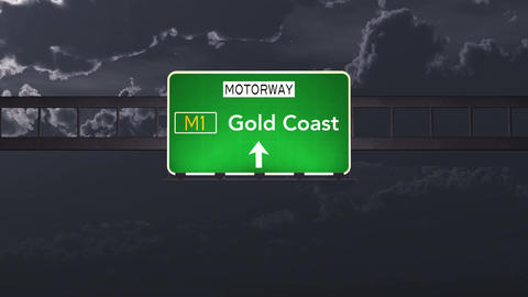 4K Passing Gold Coast Australia Highway Sign at Night with Matte 1 neutral Animation