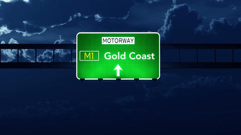 4K Passing Gold Coast Australia Highway Sign at Night with Matte 2 stylized Animation