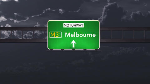 4K Passing Melbourne Australia Highway Sign at Night with Matte 1 neutral Animation