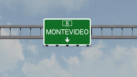 4K Passing Montevideo Uruguay Highway Road Sign with Matte 1 neutral Animation