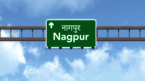 4K Passing Nagpur India Highway Road Sign with Matte 2 stylized Animation