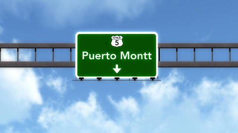 4K Passing Puerto Montt Chile Highway Road Sign with Matte 2 stylized Animation