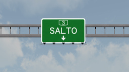 4K Passing Salto Uruguay Highway Road Sign with Matte 1 neutral Animation