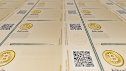 Bitcoin Printing Money On Paper stock footage