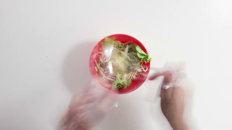 eating salad timelapse 4k (4096x2304) Footage