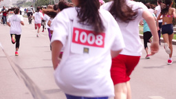 Children's Education In The Fight Against Obesity. Cross-Country Girls stock footage