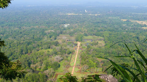 Sigiriya Garden In Sri Lanka - View From Rock stock footage