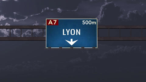 4K Passing Lyon France Highway Road Sign at Night with Matte 1 neutral Animation
