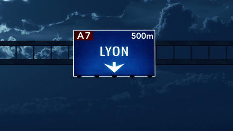 4K Passing Lyon France Highway Road Sign at Night with Matte 2 stylized Animation