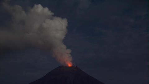 Tungurahua Night Explosion stock footage