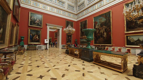 The Halls Of State Hermitage Museum In St. Petersburg stock footage