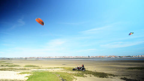 Kite buggies in action Footage