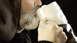 Friar big beer mug pleasure detail Footage