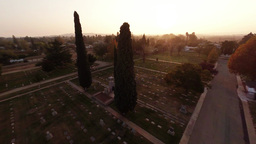 Flying Over The American Cemetery. The Setting Sun stock footage