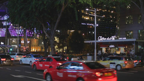 Singapore orchard road traffic at night Footage