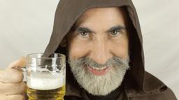 Friar front face drink beer Footage