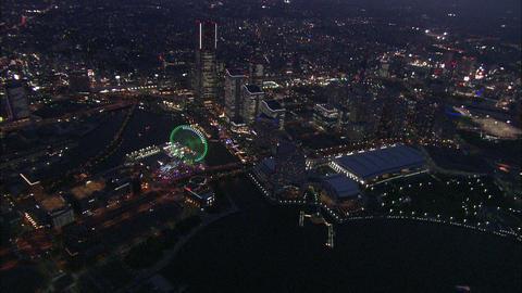 Yokohama Aerial Night 01 Footage