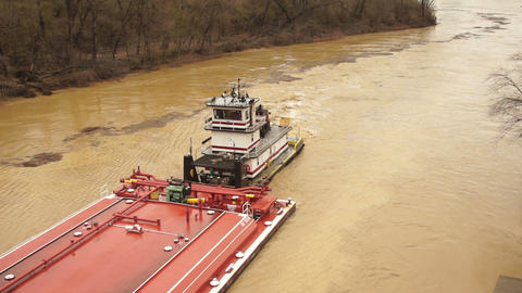 Barge Moves up The Licking River During Flood Footage