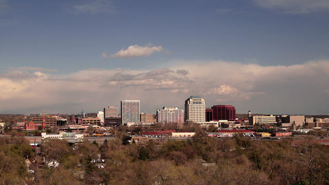 Colorado Springs Downtown City Skyline Dramatic Clouds Storm Approaching ビデオ