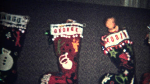 (8mm Vintage) Christmas Stockings Ready 1957 Footage