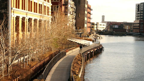 Milwaukee Riverwalk Downtown Buildings Pedestrian Walking Boardwalk ビデオ