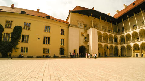Wawel Castle And Tourists. Timelapse stock footage