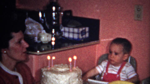 (8mm Vintage) 2 Year Old Birthday Party Cake Eating 1957 Footage