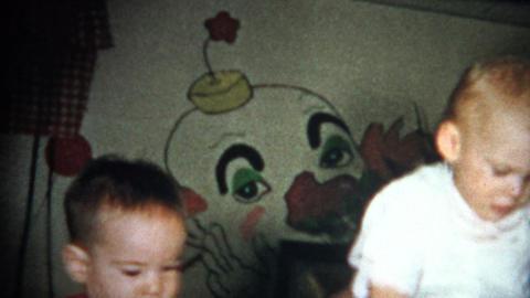 (8mm Vintage) Creep Clown Wallpaper Kids Playing 1957 Footage