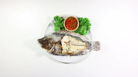 Eating Grilled Fish Stop Motion Animation 4k (4096x2304) stock footage