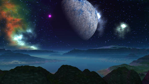 Alien planet, moon, and nebula Animation