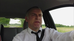 Businessman Man Commuter People Driving Car Commuting Talking With Phone Live Action