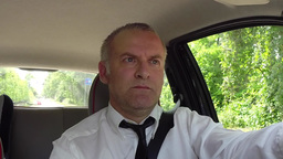 Man Businessman Commuter People Driving Car Using GPS Navigator Device Footage