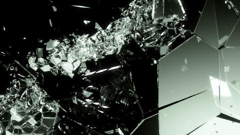 4K glass shattered and broken with slow motion on black Animation