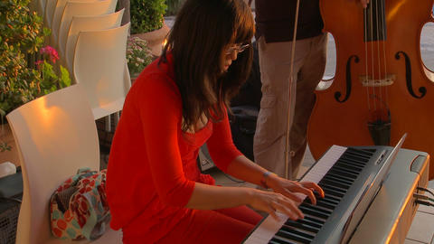 Asian female jazz pianist Footage