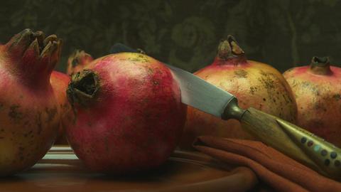 Pomegranate Still Life stock footage