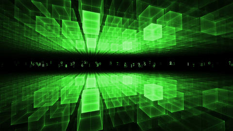 Data Flow, Green Geometrical Horizon, Communication Concept Animation
