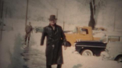 (8mm Film) Mysterious Man In Black Trenchcoat 1950 stock footage