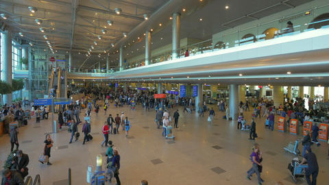 Interior of Moscow airport, Russia Footage