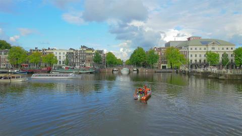 Amstel river in Amsterdam, Holland, 4k UHD Footage
