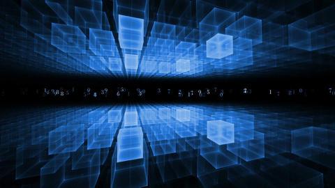 Data Flow, Blue Geometrical Horizon, Communication Concept stock footage