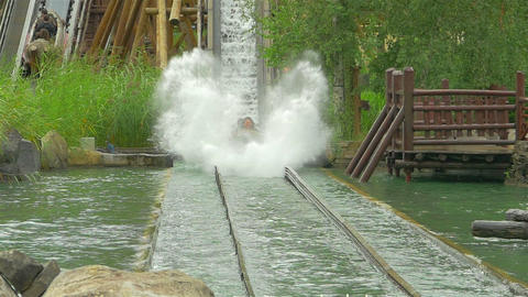 Waterslide in amusement park, slow motion Footage